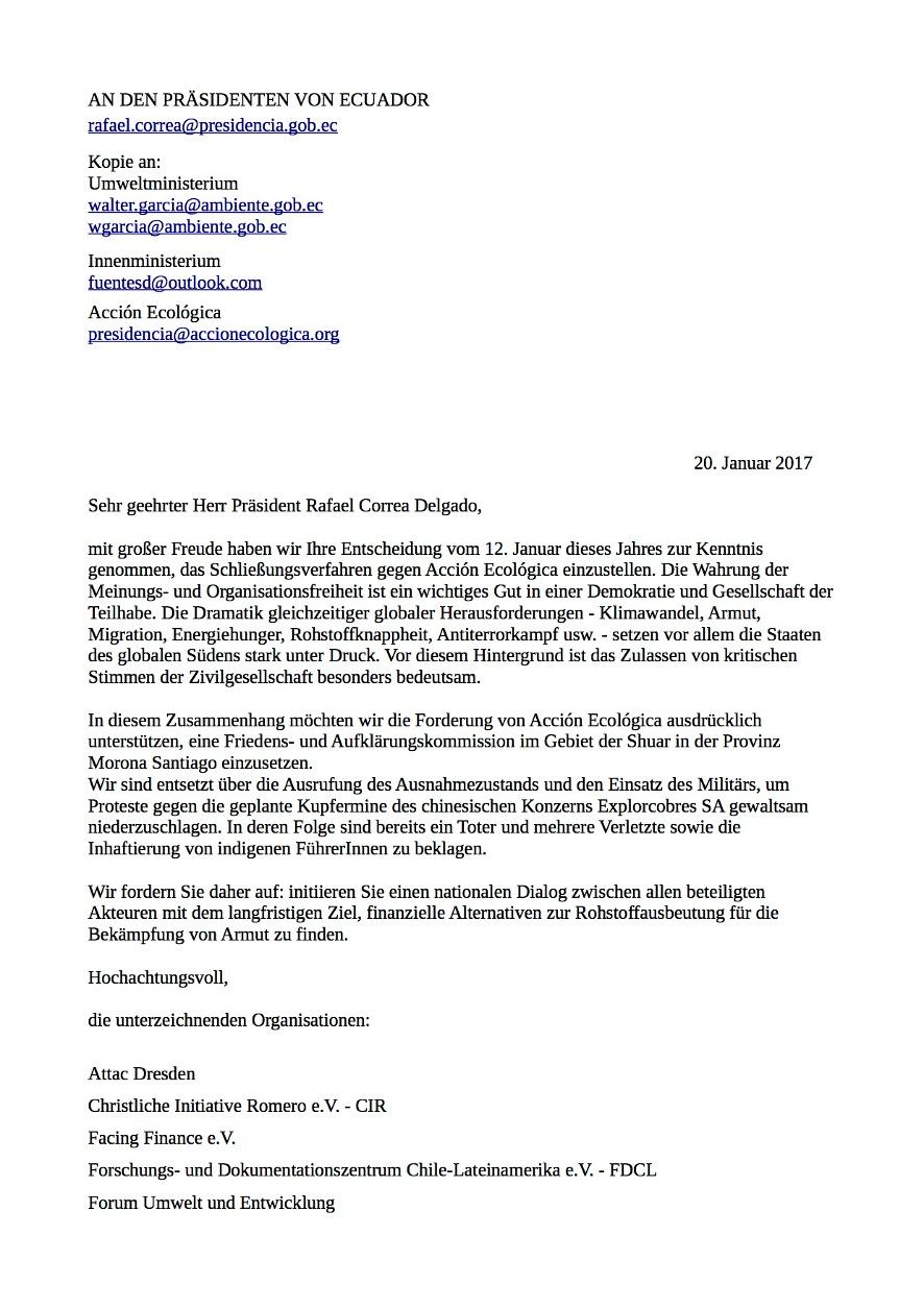 offener Brief an die Regierung Correa - Seite 1