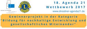 Es ist ein Logo mit der Auszeichnung der dresdner-agenda21 zu erkennen.